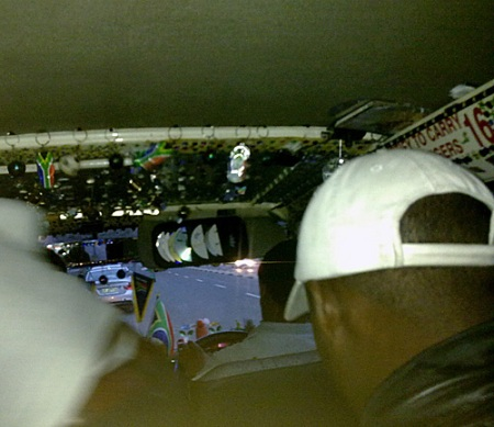 interior of a taxi at world cup South Africa