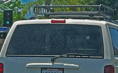 "I have never understood people who write ""wash me"" on other people's car windows. Why do they care? But this is much worse. ""SWAG"". ""Homo"". ""I <3 Farts""... even if this is just a few straight friends teasing another straight friend, it's stupid, homophobic and purile."
