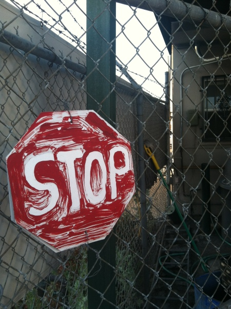 Home made stop sign. I love that someone made it. You can't buy them, probably for legal reasons.
