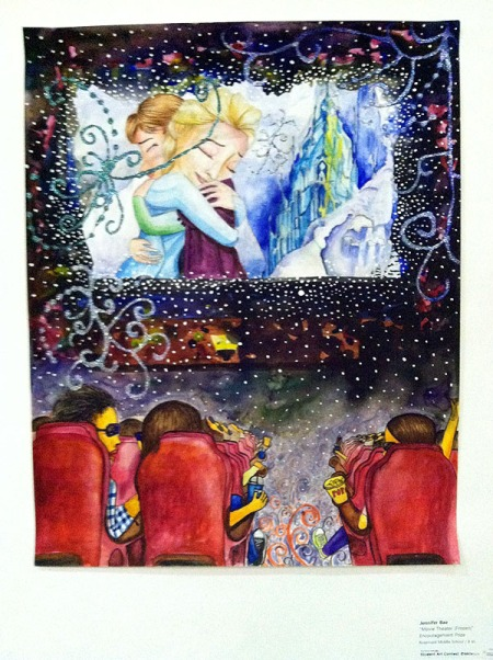"Jennifer Bae ""Movie Theater"" captures a moment from Frozen, which the Sound Designer on my thesis film, Christine Hals, worked on. I love this because it captures the magic of movies as a child, the way they fill your head and your heart."