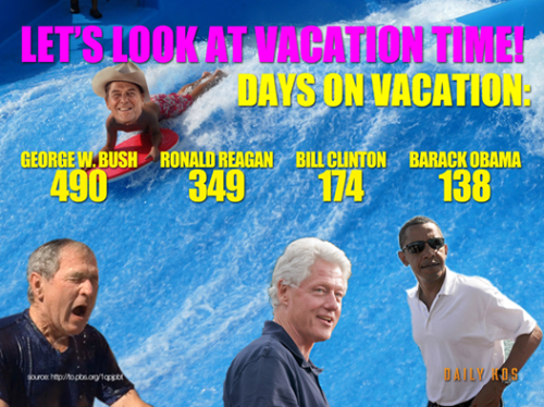 Every time he takes a day off, it's because he's a lazy you know what. The reality is, he's the hardest working president for a long, long time.